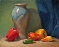 FW Hilton Vase With Peppers by Richard Christian Nelson Oil ~ 16 x 20