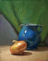 Blue Pitcher And Onion by Richard Christian Nelson Oil ~ 14 x 11