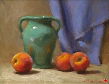 Peaches And Hilton Vase by Richard Christian Nelson Oil ~ 11 x 14