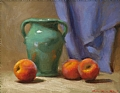 Peaches And Hilton Vase by Richard Christian Nelson Oil ~ 11 x 14