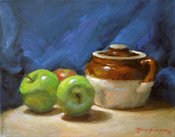Apples And Bean Pot by Richard Christian Nelson Oil ~ 11 x 14