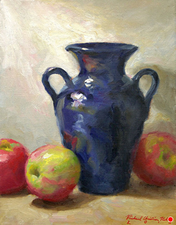 Apples And Hilton Vase by Richard Christian Nelson Oil ~ 14 x 11