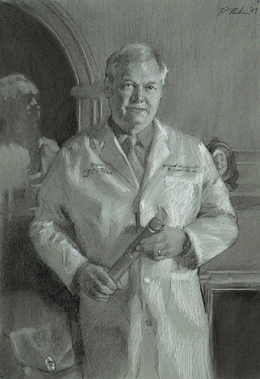 Dr. Chitwood-Drawing by Richard Christian Nelson Charcoal ~ 22 x 16
