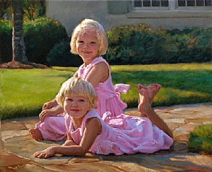 Elizabeth And Sally by Richard Christian Nelson Oil ~ 30 x 38