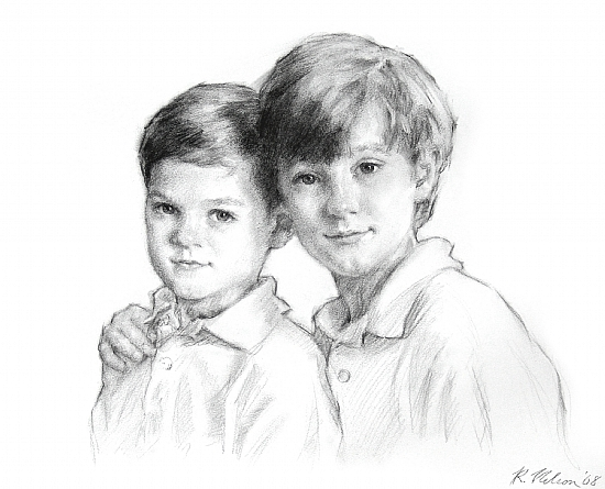 Harrison And Ian by Richard Christian Nelson Charcoal ~ 18 x 22