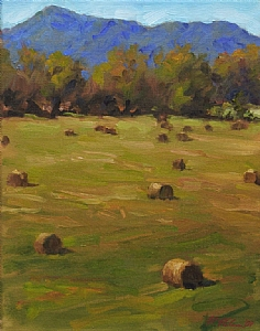 Old Howard Gap Haybales by Richard Christian Nelson Oil ~ 14 x 11