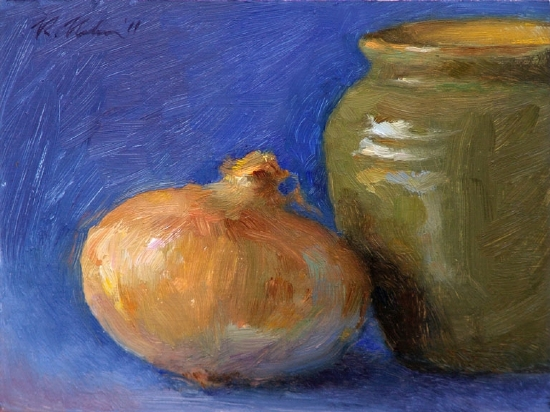 Onion And Green Vase by Richard Christian Nelson Oil ~ 6 x 8