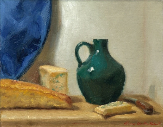Bread And Blue Cheese With Batchelder Jug by Richard Christian Nelson Oil ~ 11 x 14