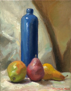 Pears With Blue Bottle by Richard Christian Nelson Oil ~ 14 x 11