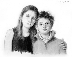 Samantha And Jared by Richard Christian Nelson Charcoal ~ 18 x 22