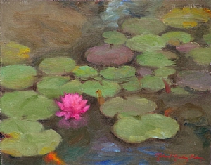 Lily Pads 2 by Richard Christian Nelson Oil ~ 11 x 14