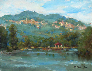Lake Lure Pavillion by Richard Christian Nelson Oil ~ 11 x 14