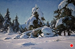 """Heavy Snow Under The Mogollon"" by Matt Smith Oil ~ 8"" x 12"""