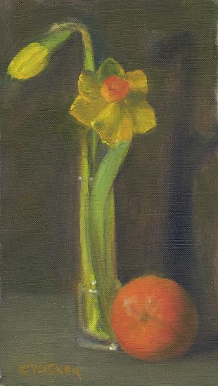 Daffodils and Orange - Oil
