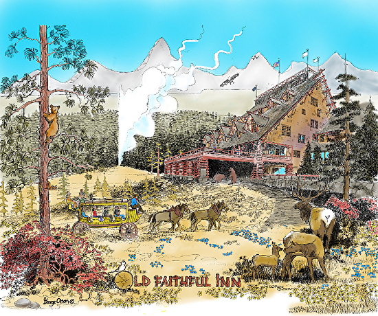 Old_Faithfull_Inn combination of pen and ink and digital by George Olson - Multi Media