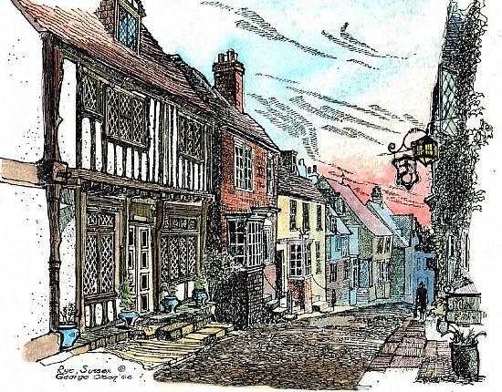 Mermaid Street, Rye Sussex, England Watercolor, Ink by George Olson - Ink and Watercolor