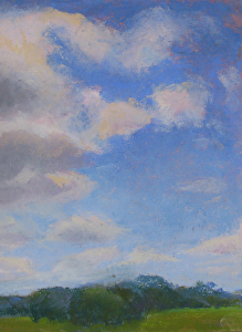 Cloud Puffs pastel painting by Carolyn Hancock