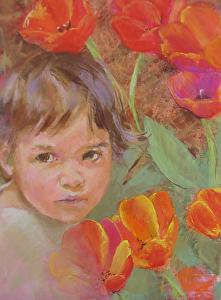 Painting of a child by Carolyn Hancock, Hide & Seek