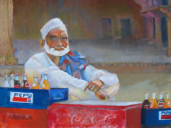 Hot Day Cool Drink, Pastel, 18x24