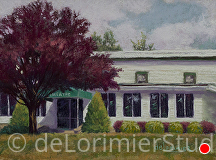 "Olney Theatre Centre, Historic Stage by Cathy de Lorimier Pastel ~ 9"" x 12"""