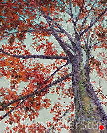 "Red Leaves and Sky by Cathy de Lorimier Pastel ~ 10"" x 8"""