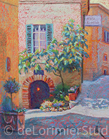 "Spello as the Sun Goes Down by Cathy de Lorimier Pastel ~ 14"" x 11"""