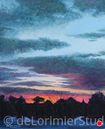 "Sunset from Shimmering Waters Farm by Cathy de Lorimier Pastel ~ 22"" x 18"""