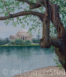 "Jefferson Memorial in the Springtime by Cathy de Lorimier Pastel ~ 11.5"" x 10"""
