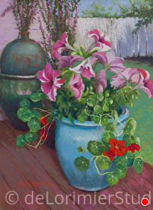 "Romantic Petunias and Nasturtiums by Cathy de Lorimier Pastel ~ 12"" x 9"""