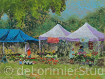 "Tents at the Olney Farmers Market by Cathy de Lorimier Pastel ~ 6"" x 8"""