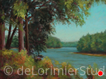 "Brighton Dam in Summertime by Cathy de Lorimier Pastel ~ 10.5"" x 14"""