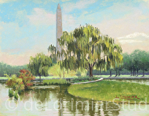 "Reflecting on the Washington Monument by Cathy de Lorimier Pastel ~ 11"" x 14"""
