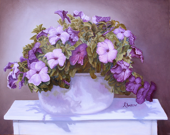 Pot of Petunias - Oil