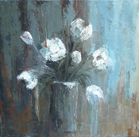 Peonies by Donna Thomas Oil ~ 30 x 30