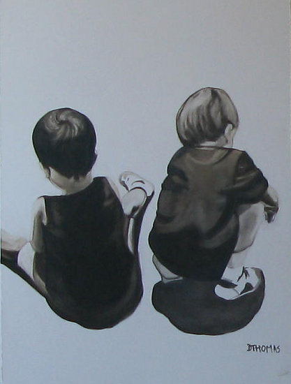 Simultaneous play by Donna Thomas Oil ~ 40 x 30