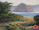 Morro Rock with Cypress by Dotty Hawthorne Pastel ~ 10.5 x 13.5