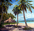 UNDER THE PALMS - Oil -  30x30 Gallery Wrap by Tina Bohlman Oil ~ 30 x 30