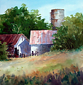 SODEK'S FARM by Tina Bohlman Watercolor ~ 12 x 12