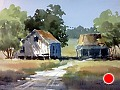 Panhandle Grange #2 by Tina Bohlman Watercolor ~ 7.5 x 9.5