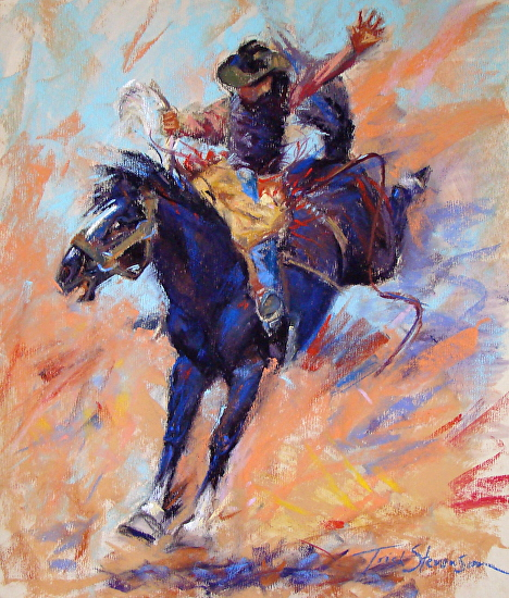Black 'N Blue Bronc Ride - Pastel