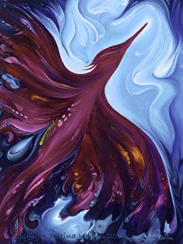 "Phoenix Creation Rising by Bettina Star-Rose Acrylic ~ 40"" x 30"""