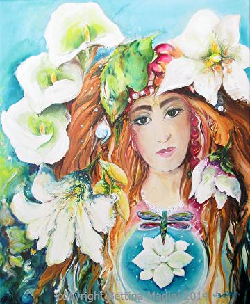 "Jungle Goddess by Bettina Star-Rose Acrylic ~ 24"" x 18"""