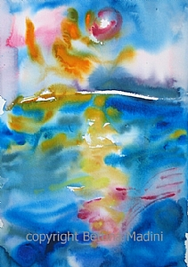 """Sunset no.2 by Bettina Star-Rose Watercolor ~ 18"""" x 12"""""""