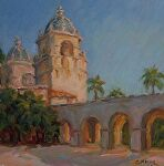 Balboa Park Courtyard by Carole Mayne Oil ~ 6 x 6