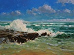 Wave Splash by Carole Mayne Oil ~ 12 x 16