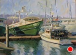 Tuna and Lobster Boats, SD Harbor by Carole Mayne Oil ~ 9 x 12