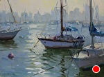 Sun Spots, Harbor Drive by Carole Mayne Oil ~ 9 x 12