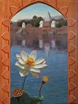 Bateshwar Temples and Lotus by Carole Mayne Oil ~ 30 x 24