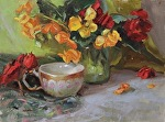 Begonias and Tea Cup by Carole Mayne Oil ~ 9 x 12