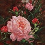 Rose of Charlotte by Carole Mayne Oil ~ 6 x 6